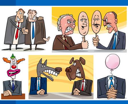 payasos caricatura: Ilustración conjunto de conceptos de historieta humorística o Metáforas y de política y los políticos