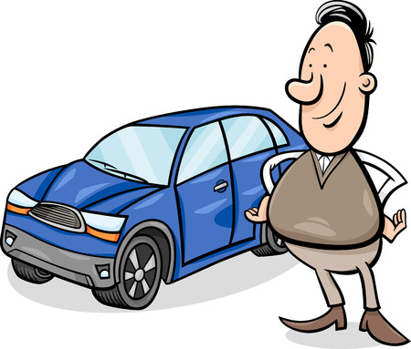 the proud: Cartoon Illustration of Proud Man and his New Car