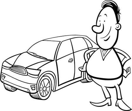 the proud: Black and White Cartoon Illustration of Proud Man and his New Car for Coloring Book