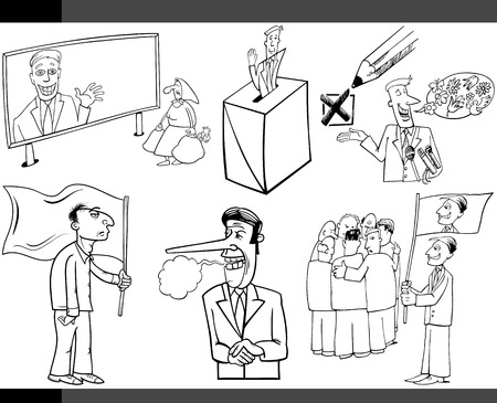 hustings: Black and White Illustration Set of Humorous Cartoon Concepts or and Metaphors of Politics and Democracy
