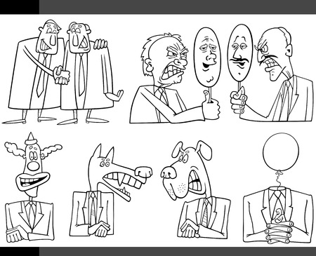 metaphors: Black and White Illustration Set of Humorous Cartoon Concepts or and Metaphors of Politics and Politicians Illustration