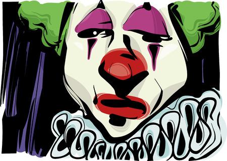 caras tristes: Sketch Dibujo Ilustración de la cara del payaso triste Vectores