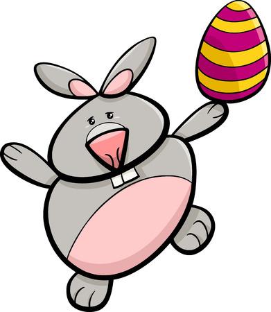 colored egg: Cartoon Illustration of Easter Bunny with Colored Egg Illustration
