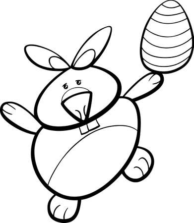 coloring easter egg: Black and White Cartoon Illustration of Easter Bunny with Egg for Coloring Book