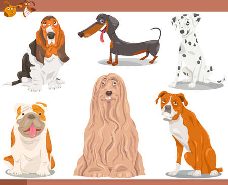 Cartoon Illustration of Funny Purebred Dogs Pets Set