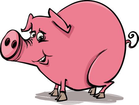 porker: Cartoon Sketch Illustration of Funny Pig Farm Animal Illustration