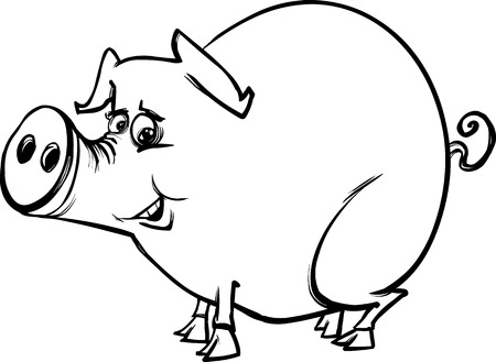 porker: Black and White Cartoon Sketch Illustration of Funny Pig Farm Animal for Coloring Book