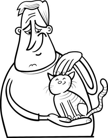 Schwarz-Weiß-Karikatur Illustration Des Jungen Streicheln Seiner ...