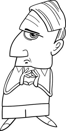 considering: Black and White Cartoon Illustration of Thoughtful Man or Professor Considering Something for Coloring Book Illustration
