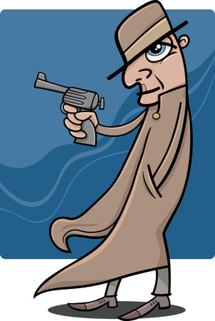 thug: Cartoon Illustration of Detective or Gangster with Gun