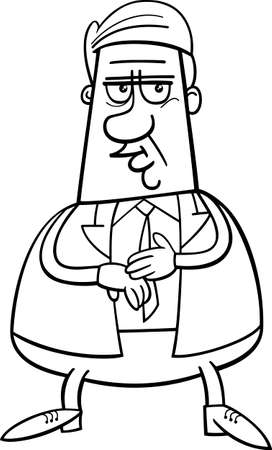 bossy: Black and White Cartoon Illustration of Businessman or Manager Character for Coloring Book