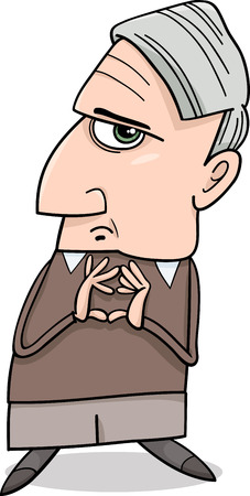 considering: Cartoon Illustration of Thoughtful Man or Professor Considering Something Illustration