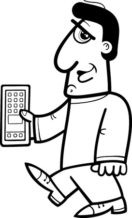 handheld device: Black and White Cartoon Illustration of Man with Tablet or Smart Phone for Coloring Book Illustration
