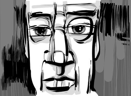생각에 잠겨있는: 잠겨있는 남자 얼굴의 예술적 스케치 드로잉 그림 일러스트