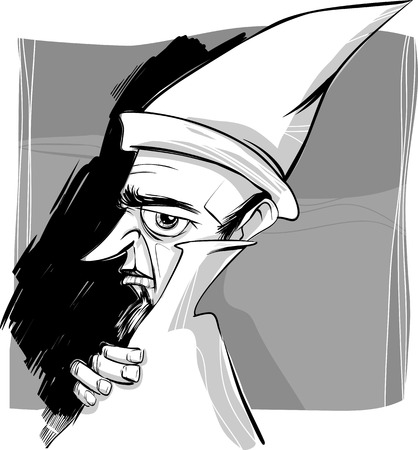 powerful man: Sketch Drawing Illustration of Fantasy Wizard or Sorcerer
