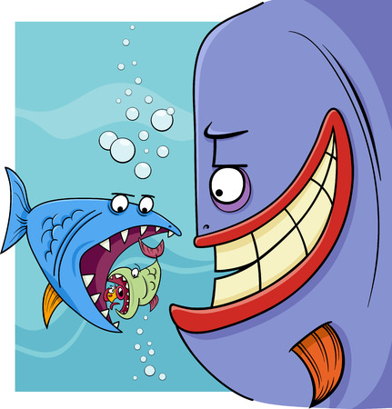 proverb: Cartoon Humor Concept Illustration of Bigger Fish Saying or Proverb Illustration
