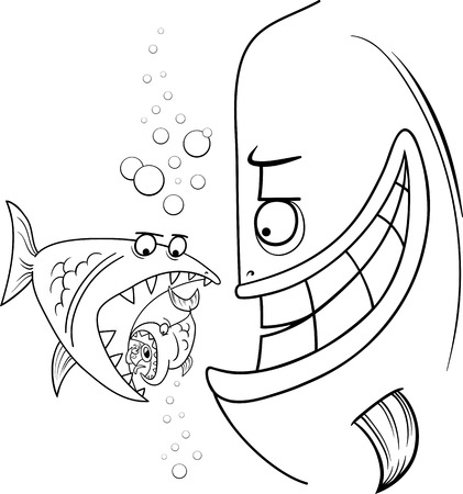 bigger: Black and White Cartoon Humor Concept Illustration of Bigger Fish Saying or Proverb for Coloring Book