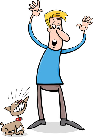 bad dog: Cartoon Illustration of Bad Little Dog and Frightened Man