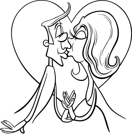 amorous: Black and White Valentines Day Cartoon Illustration of Funny Kissing Couple in Love for Coloring Book Illustration
