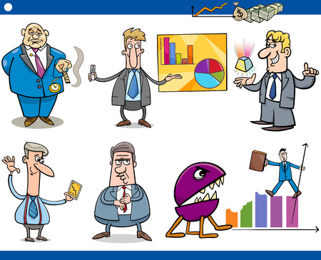 bossy: Concept Cartoon Illustration Set of Funny Men or Businessmen Characters and Business Metaphors