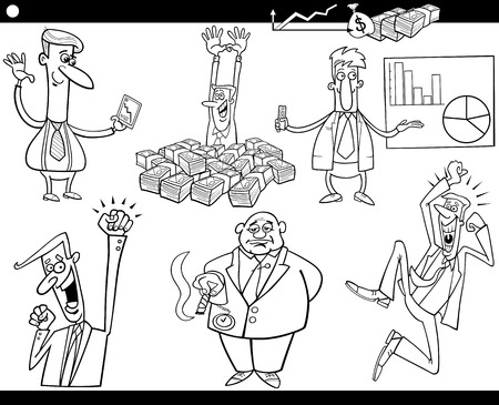 stock broker: Black and White Concept Cartoon Illustration Set of Business Concepts and Metaphors Illustration