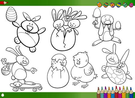 Ostern Themes Collection Set Von Schwarz-Weiß-Karikatur ...