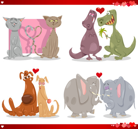 Cartoon Illustration of Cute Valentines Day Animal Couples in Love Collection Set Vector