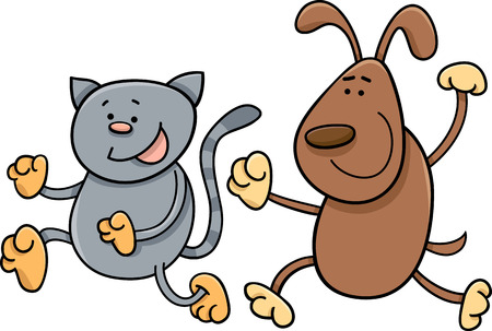running nose: Cartoon Illustration of Cat and Dog Playing Tag