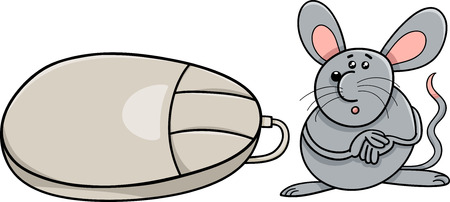 mouse computer: Cartoon Humor Illustration of Funny Mouse Rodent and Computer Mouse Illustration