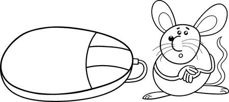 raton caricatura: Historieta blanco y negro Ilustración de ratón divertido de roedores y ratón de ordenador para Coloring Book Vectores