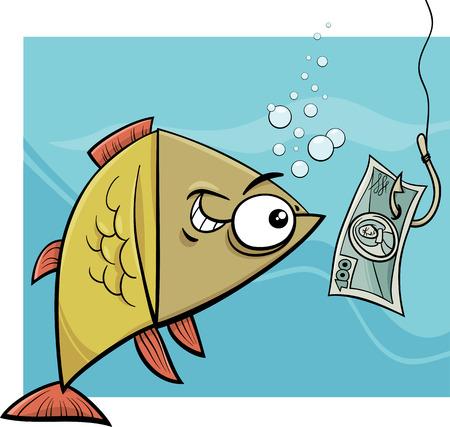 만화 개념 유머 재미 있은 물고기와 낚시 미끼와 함께 낚시 후크의 그림 일러스트