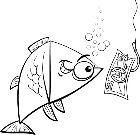 enticement: Black and White Cartoon Concept Humor Illustration of Funny Fish and Fishing Hook with Money Bait Illustration