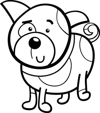 cute cartoon dog: Black and White Cartoon Illustration of Cute Spotted Dog or Puppy for Coloring Book Illustration