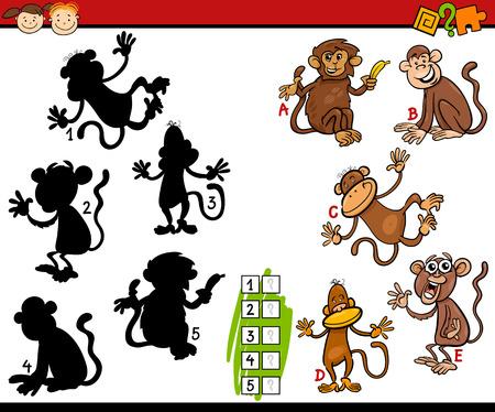 취학 전 어린이를위한 교육 그림자 매칭 게임의 만화 그림 일러스트