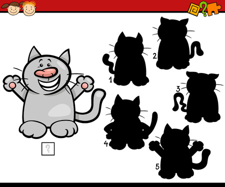 cat drawing: Cartoon Illustration of Education Shadow Matching Game for Preschool Children Illustration