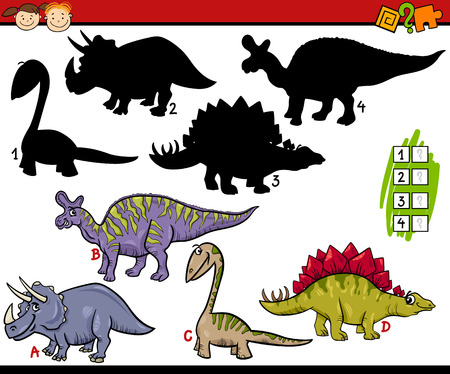 teaser: Cartoon Illustration of Education Shadow Matching Game for Preschool Children Illustration