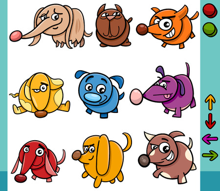Cartoon Illustration of Funny Dogs Animal Characters with Buttons for Application or Video Game Vector