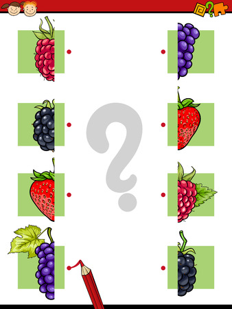 fruit illustration: Cartoon Illustration of Education Halves Matching Game for Preschool Children