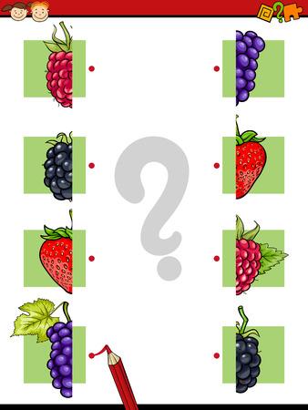 frutas divertidas: Ejemplo de la historieta de Educaci�n Mitades juego de las coincidencias de para ni�os en edad preescolar