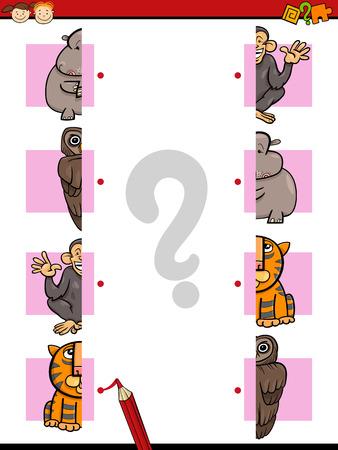 Cartoon Illustration of Education Halves Matching Game for Preschool Children