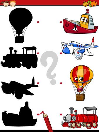 niño preescolar: Ejemplo de la historieta de la sombra Educación juego de las coincidencias de para niños en edad preescolar