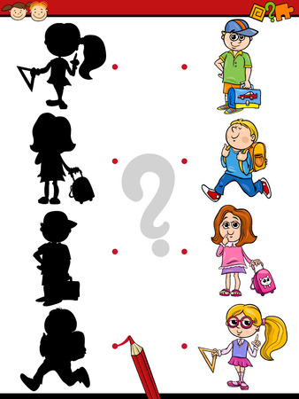 connect the dots: Cartoon Illustration of Education Shadow Matching Game for Preschool Children Illustration
