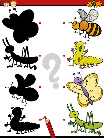 teaser: Cartoon Illustration of Education Shadow Matching Game for Preschool Children Illustration