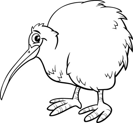 Black and White Cartoon Illustration of Funny Kiwi Bird Animal for Coloring Book