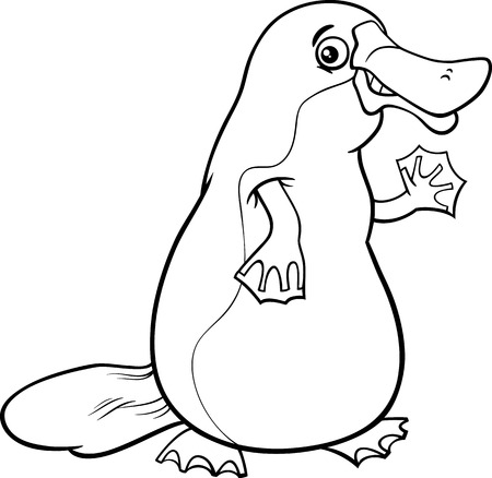 Black and White Cartoon Illustration of Funny Platypus or Duckbill Animal for Coloring Book