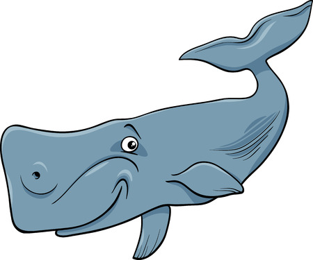 largest: Cartoon Illustration of Funny Whale the Largest Sea Mammal Illustration