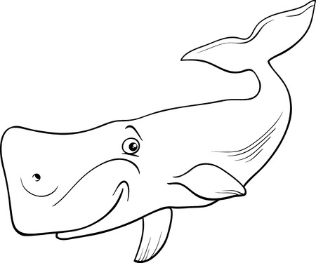 mammal: Black and White Cartoon Illustration of Funny Whale Sea Mammal Animal for Coloring Book