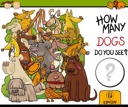 Cartoon Illustration of Education Counting Game for Preschool Children Ilustracja