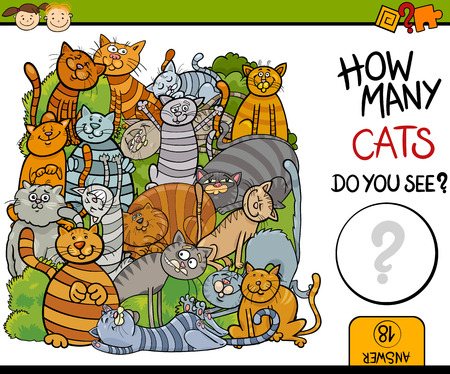Cartoon Illustration of Education Counting Game for Preschool Children Illustration