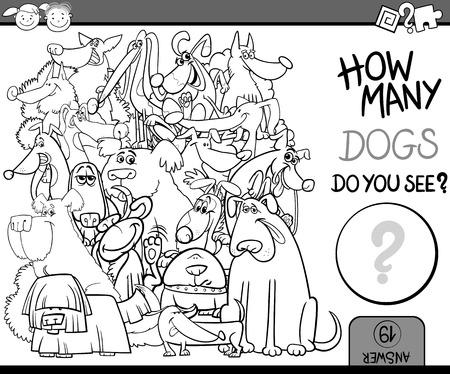 perro caricatura: Ejemplo de la historieta de Educación Contando Juego para Coloring Book Vectores